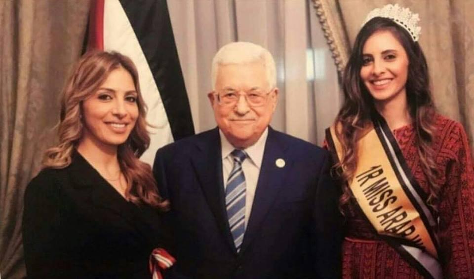 *الرئيس محمود عباس يستضيف الفلسطينية لورين امسيح في مقر إقامته بالقاهرة والتي حصلت على الوصيفة الأولى في مسابقة ملكة جمال العرب.*