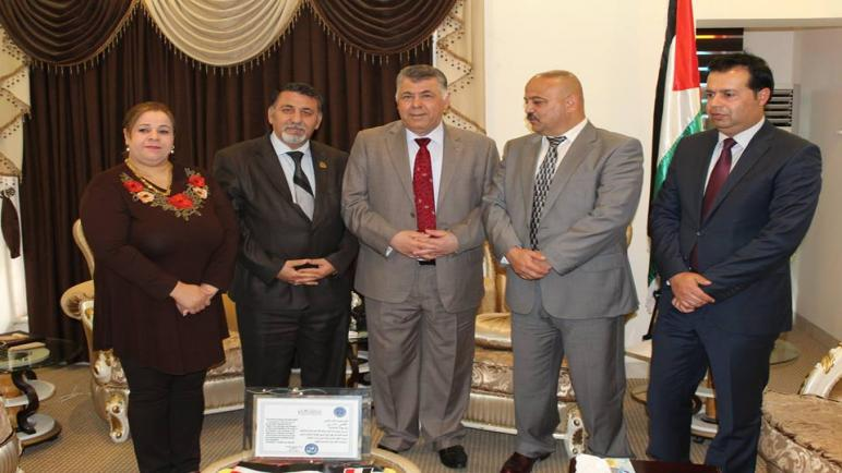 السفير نظمي الحزوري قنصل عام فلسطين في كردستان العراق يستقبل وفد جبهة مستقبل نينوى