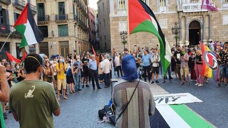 اعتصام امام بلدية برشلونه اليوم