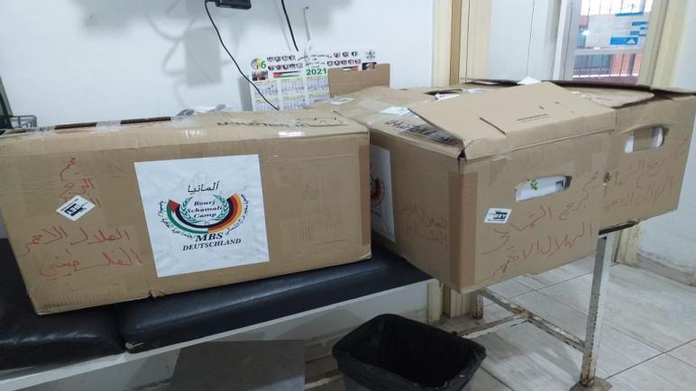 جمعية مخيم برج الشمالي المانيا تسلم مستشفى الجليل التابع للهلال الأحمر الفلسطيني أدوية ومستلزمات طبية