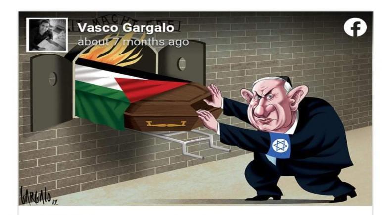مطالبة الصهاينه بطرد رسام برتغالي من صحيفته بسبب رسمه نتنياهو يحرق الفلسطينيين